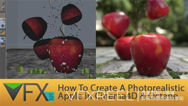 C4D教程:C4D使用Octane渲染器制作一个逼真的苹果教程 Create A Photorealistic Apple