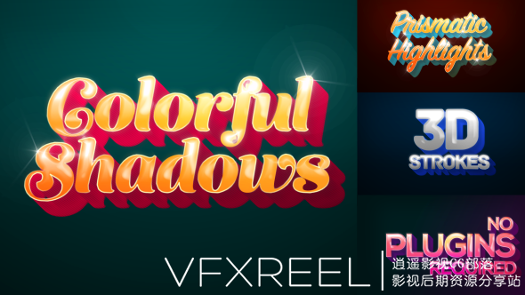 AE模板:彩色阴影文字标题运动图形动画展示 Colorful Shadows Motion Titles Pack