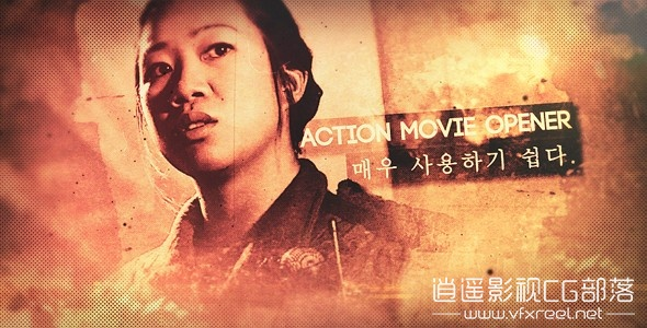 Action-Movie-Opener AE模板:复古电影预告宣传画面静止人物介绍动画 Action Movie Opener