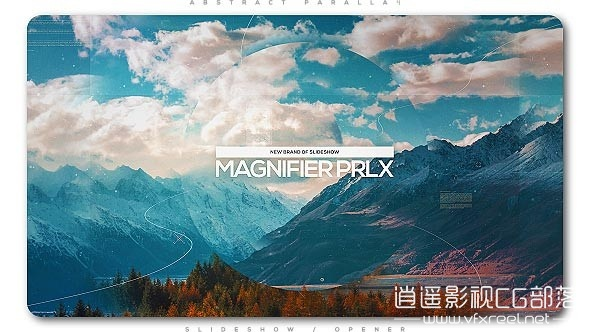 Magnifier-Parallax-Slideshow AE模板:科技三维视差城市旅游图片动画展示 Magnifier Parallax Slideshow