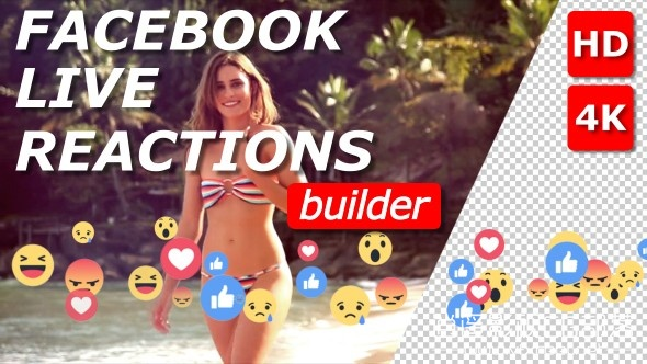 Facebook-Live-Reactions-Builder AE模板:FB博客网络直播表情符号动画制作 Facebook Live Reactions