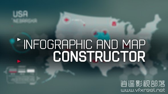 infographic-and-map-constructor AE模板:科技信息图表折线柱状图世界地图动画元素 infographic and map constructor