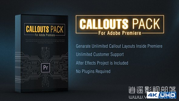 Callout-Line-Pack-For-Premiere AE/PR模板:4K科技线条呼出产品文字介绍动画展示 Callout Line Pack