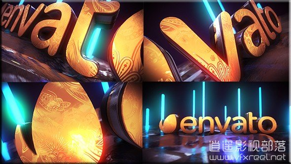Golden-Neon-Logo-Intro AE模板:E3D大气金色花纹电影标志logo动画介绍 Golden Neon Logo Intro