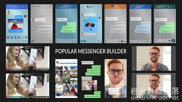Popular-Messenger-Builder-v2.0 AE模板:手机短信社交平台聊天对话窗动画 Popular Messenger Builder v2.0