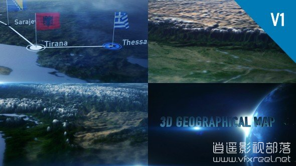 3D-Geographical-Map AE模板:大气3D世界地图旅行国家定位连线动画展示 3D Geographical Map