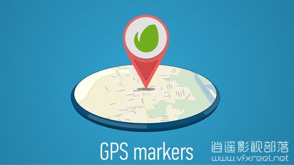 GPS-Markers-Map AE模板:卡通地图GPS全球定位旗帜动画展示 GPS Markers Map