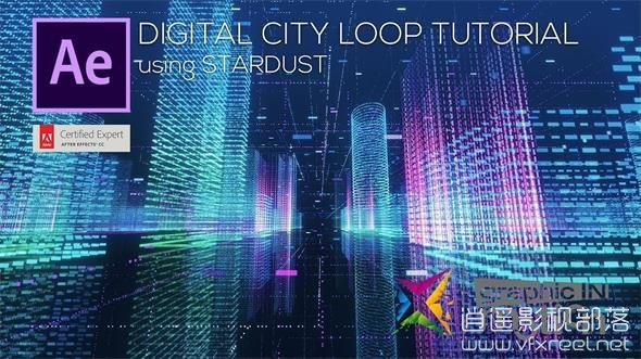 Stardust-Digital-City-Loop AE教程:Stardust插件制作循环科技数字城市教程 Stardust Digital City Loop