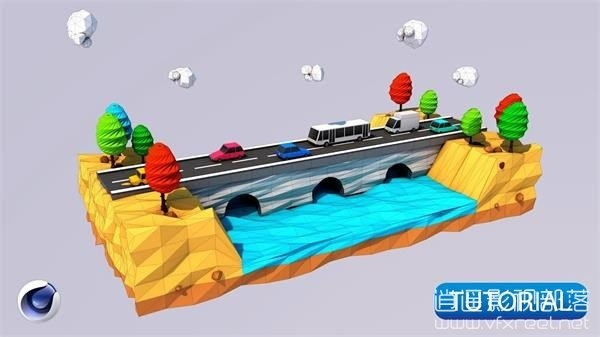 Low-Poly-Road-Bridges-3D-Modeling C4D教程:低多边形道路桥梁建模教程 Low Poly Road & Bridges 3D Modeling