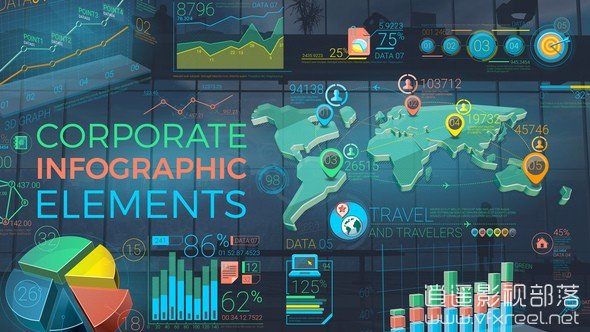 Colorful-Corporate-Infographic-Elements AE模板:公司企业宣传3D图表柱状图折线图饼图地图动画元素展示 Infographic Elements