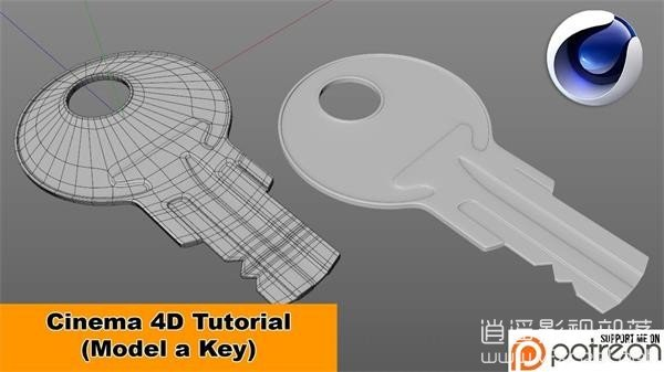 Model-a-Key-Cinema-4D-Tutorial C4D教程:钥匙建模教程 Model a Key Cinema 4D Tutorial