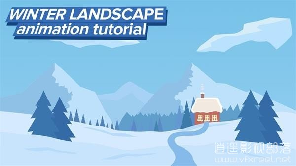 Christmas-Winter-Landscape-Animation-in-After-Effects AE教程:卡通圣诞节冬天风景动画教程 Christmas Winter Landscape Animation