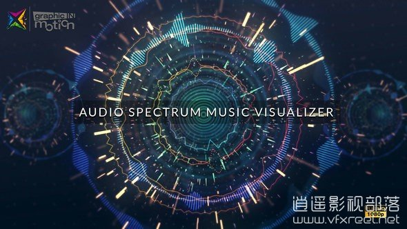 Audio-Spectrum-Music-Visualizer AE模板:HUD科技线条粒子跟随音频频谱舞动开场 Audio Spectrum Music Visualizer