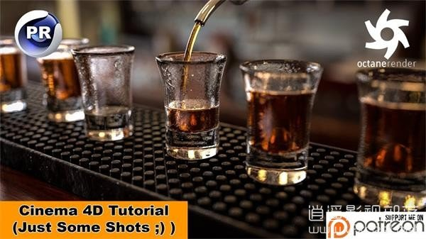 Just-Some-Shots-Cinema-4D-Tutorial C4D真实玻璃酒杯建模OC渲染合成特效教程 Just Some Shots