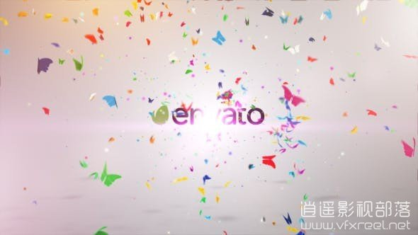 Colorful-Butterfly-Logo-Reveal-II AE模板:漂亮众多蝴蝶飞舞标志logo动画揭示 Colorful Butterfly Logo Reveal II