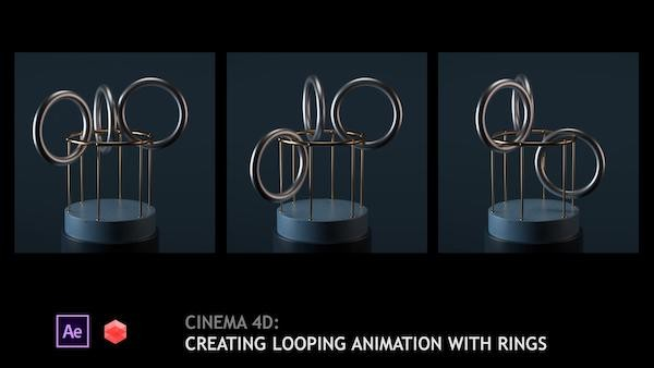 C4D配合Redshift制作环状模型循环动画教程 Cinema 4D Creating looping animation with rings